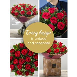 VALENTINE'S 18 RED ROSE HAND-TIED